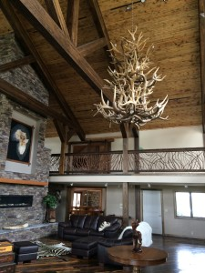 Balcony Railing Antler Chandelier