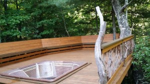 Bench and Branch Railing Hot Tub Deck