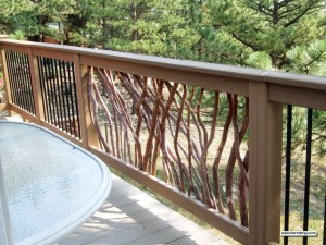 Branch and Metal Handrail