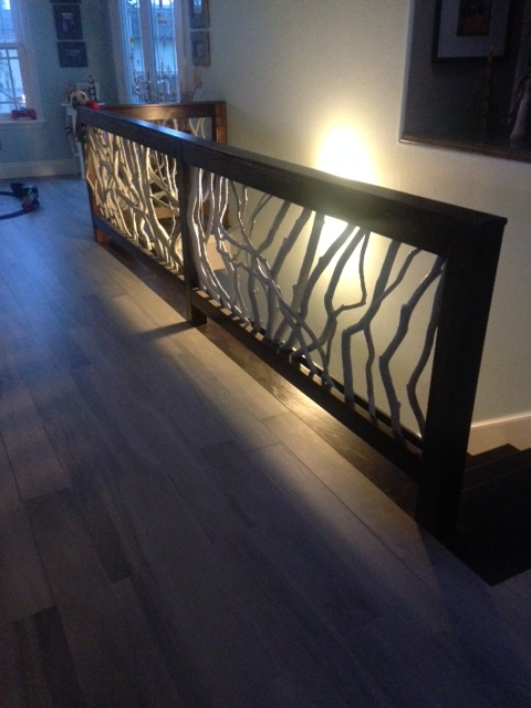 Dark Wood Painted Branch Handrail