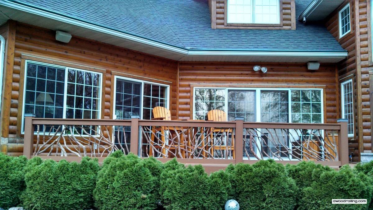 Deck handrail log home mountain laurel railing for Log home decks