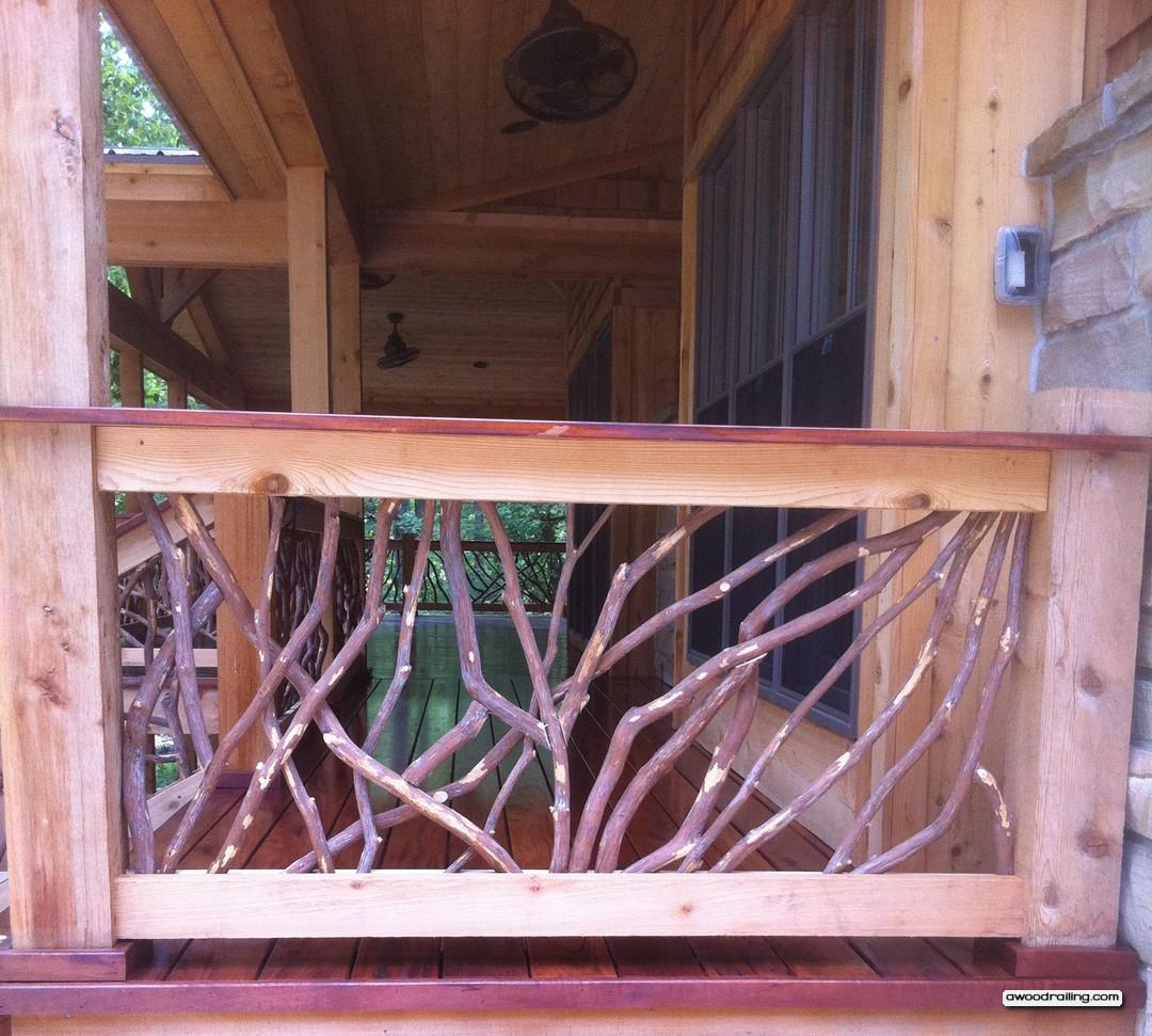 Hewn Log Porch Railing Mountain Laurel Railing