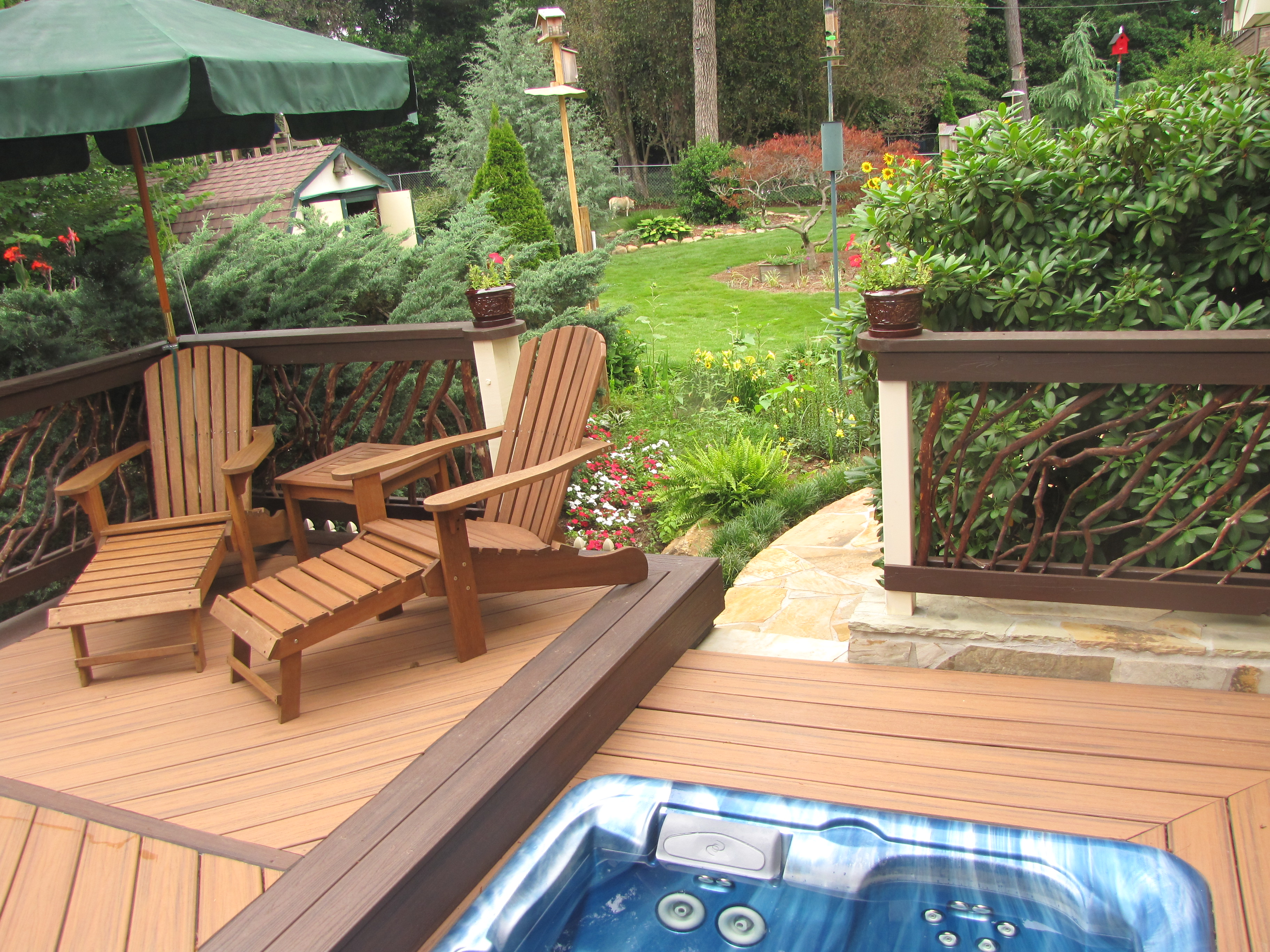 deck house by stairs pin cabinets hot side tub andy wood cedar hottubs