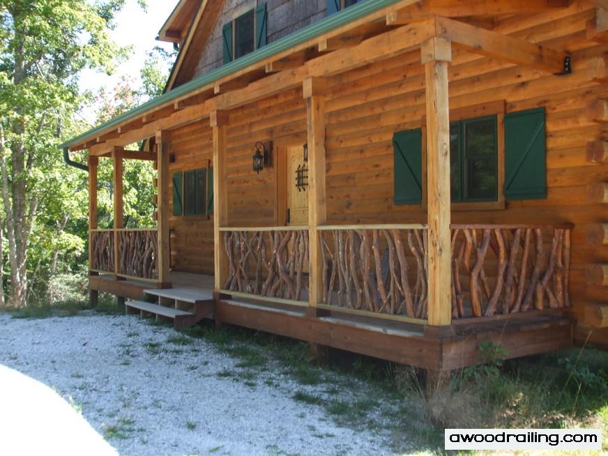 Log cabin deck railing mountain laurel railing for Log cabin porches and decks