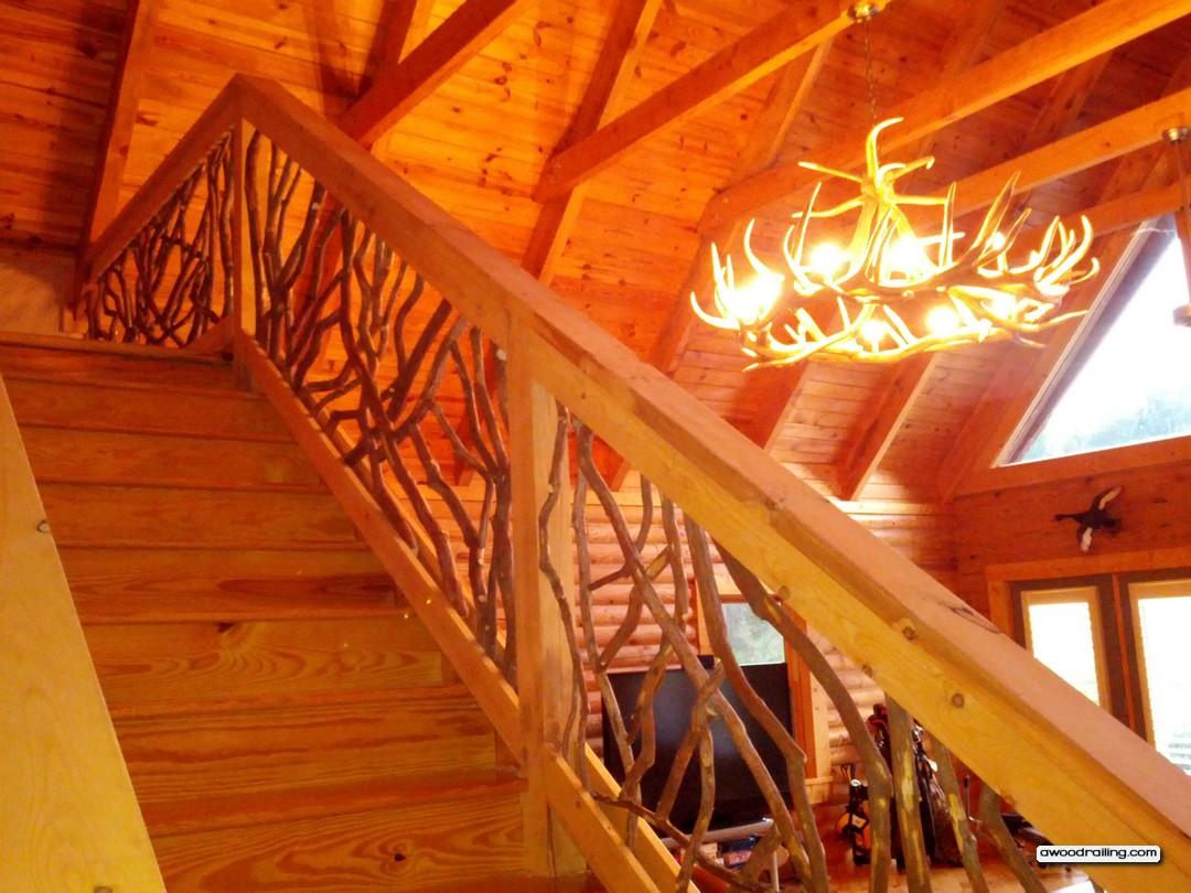 Rustic Mountian Stair Railings: Stair Handrail Chandelier