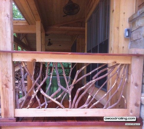 Red Deck Porch Railing Made Of Branches Installed In Texas